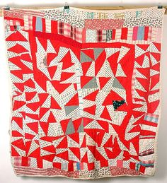 African American Triangle Pattern Strip Quilt.  From J. Demme collection