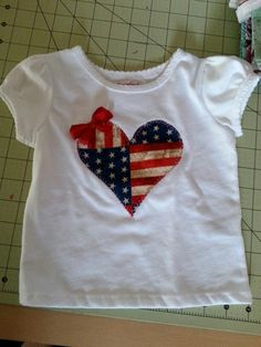 Custom Heart 4th of July blouse. Visit our shop.
