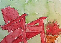 Red Adirondack Chair Watercolor Painting Original ACEO. $16.00, via Etsy.
