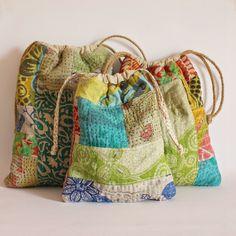 Kantha patchwork drawstring bags