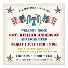 Welcome Home Party Invitation/Support Our Troops BBQ : Vintage ...