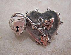 Victorian Brooch - heart lock