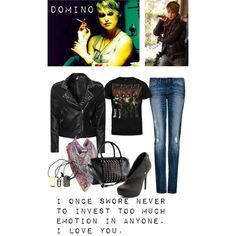 A Polyvore Set I've created based on Keira Knightley from the movie Domino.