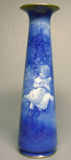 ROYAL DOULTON BLUE CHILDREN VASE - SCENE.