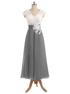 A-line V-neck Ivory Lace Top T-length Chiffon Bridesmaid Dresses apd2656