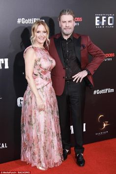 actor John Travolta and his wife 55 Yo Kelly Preston John Travolta Kelly Preston, Johnny Travolta, Oasis, Maroon Jacket, Actor John, Ladies Gents, Floral Gown, Famous Couples, Kate Beckinsale