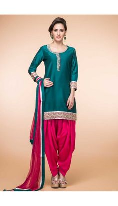 Green Silk Patiala Suit With Dupatta - 1865