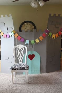 Cardboard castle + leftover paints = (free) magic! just what i {squeeze} in: Eliza's Rainbow Princess Party
