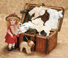 antique doll & trunk...I LOVE OLD DOLL TRUNKS. USE THEM FOR STORAGE ALONG WITH VINTAGE SUITCASES
