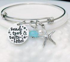 Sandy Toes Salty Kisses Beach Bangle by 3LittlePixiesShoppe