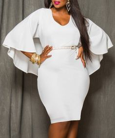 Sexy White V-Neck 3/4 Sleeve Bodycon Cape Dress For Women Plus Size Dresses | RoseGal.com Mobile