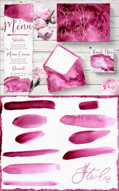 #Rosé #Pink #Digital #Textures #Watercolor #Wedding #Stationary #Branding #Abstract