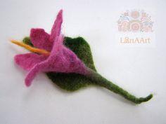 Pink-violet felted wool flower brooch gentle spring by LanAArt