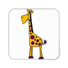 Funky Yellow and Purple Giraffe Cartoon Square Sticker #giraffes #funny #stickers And www.zazzle.com/naturesmiles*