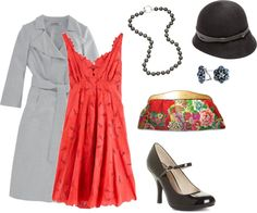 """""""Grey and coral - modern flapper"""" by jossiebristow on Polyvore"""