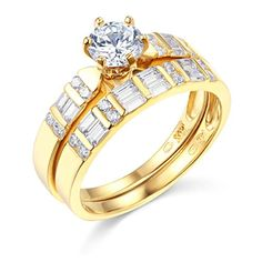 Introducing 14k Yellow Gold SOLID Wedding Engagement Ring and Wedding Band 2 Piece Set  Size 75. Great Product and follow us to get more updates!