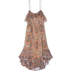 Zimmermann Harlequin Heriz printed crinkled silk-georgette dress ($650) ❤ liked on Polyvore featuring dresses, orange, brown dresses, slip on dress, frilly dresses, loose fitting dresses and multi colored dress