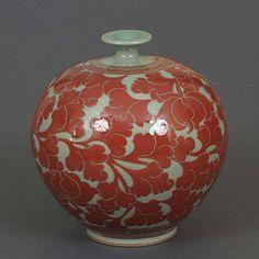 Red Lotus Celadon Jar (korean-arts.com)