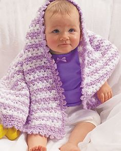 This baby blanket crochet pattern creates stripes of lavender and white with a pretty trim. This crochet blanket makes a great gift for a baby shower. You only need 2 balls of each color to make this blanket, OR YOU CAN USE BLUE AND WHITE FOR A BOYS BLANKET. HAPPY CROCHETING :)