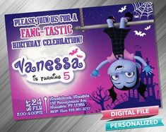 Vampirina Invitation - PrintDParty Selling Birthday Invitation and Printable Party Decoration Digital File. Birthday Party Decorations Diy, 2nd Birthday Parties, Birthday Ideas, Printable Birthday Invitations, Party Printables, Printed Materials, Rsvp, Card Stock, Birthdays