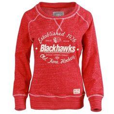 Women's Chicago Blackhawks Old Time Hockey Red Crystal Sweatshirt