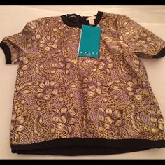 Marni for H&M Brocade Top NWT Pretty short sleeve top in a metallic brocade pattern. Elastic sleeves and bottom. Zipper in back.  Black, gold, purple, brown. Brand New with Tags.  Special hanger included. Marni for H&M Tops Blouses