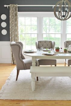 love a versatile dining room! Add a bench to one side of the table for additi We love a versatile dining room! Add a bench to one side of the table for additi. We love a versatile dining room! Add a bench to one side of the table for additi. Farmhouse Dining Room, Dining Room Design, Dining Room Chairs, Dining Room Navy, Navy Dining Chairs, Dinner Room, Home Decor, Dining Room Decor, Dining Chairs