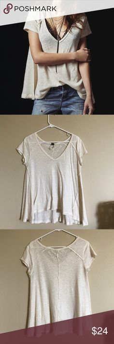 We the Free A-Line Tee (ivory) This loose-fitting, rustic ivory tee is perfect for layering in the fall or on its own during the summer. In excellent used condition and perfect for all occasions. Free People Tops Tees - Short Sleeve