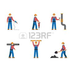 Construction worker people silhouettes icons flat set isolated vector Stock Vector