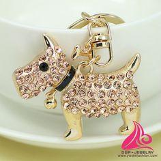 New Unique Novelty Dog Keyring Holder Fashion Animal Purse Charm Handbag Pendant Gift Rhinestone Keychain