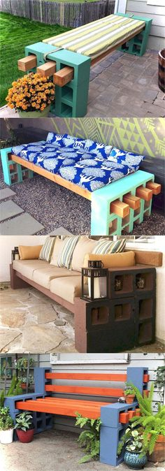 21 beautiful DIY benches for every room. Great tutorials on how to build benches… 21 beautiful DIY benches for every room. Great tutorials on how to build benches easily out of wood, concrete blocks, or even old headboards and dressers. Indoor Outdoor, Outdoor Living, Indoor Benches, Patio Bench, Wood Benches, Wood Patio, Table Bench, Outdoor Diy Bench, Diy Garden Benches