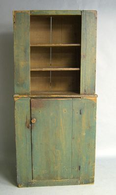 Green painted pine wall cupboard, late c. Primitive Cabinets, Primitive Furniture, Country Furniture, Wall Cupboards, Old Cabinets, Kitchen Cupboards, Wooden Cupboard, Antique Cupboard, Green Furniture