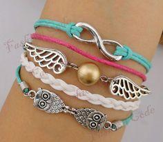 Bracelet - Infinity, Wings & Owls Charm Bracelet - Harry Potter Inspired Bracelet-Best Gift via Etsy