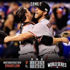 2014.10.29 Madison Bumgarner & Buster Posey World Series game 7 vs KC Royals (Giants win 3-2)