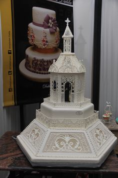All Decoration And Chapel Made In Royal Icing on Cake Central Royal Icing Piping, Royal Icing Cakes, Cake Icing, Elegant Wedding Cakes, Elegant Cakes, Cake Wedding, Royal Icing Templates, Fondant Cake Designs, Icing Techniques