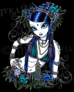 Sonya Tribal Fusion Belly Dancer Fae Signed Art Print - Myka Jelina
