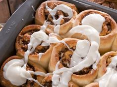 Get Gooey Cinnamon Buns with Thick Cream Cheese Icing Recipe from Food Network