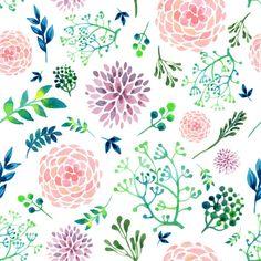 Floral Pattern Self Adhesive Wallpaper Watercolor by ManukaPaper