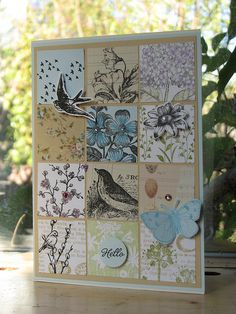 Beautiful artistry with birds and flowers in a grid design.