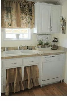 Burlap curtains for kitchen idea...