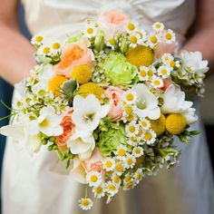 """Rustic/Country/Shabby Chic Bridal Bouquet Which Includes: Peach """"Juliet"""" David Austin English Garden Roses, Green Roses, Yellow Craspedia (Billy Balls), White/Yellow Chamomile Daisies, White Waxflower, White Freesia + Green Hypericum Berries"""