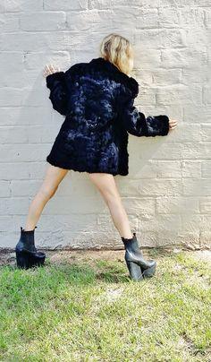 black magic woman RABBIT fur coat. shaggy by AlexAndAftonVintedge, $132.00