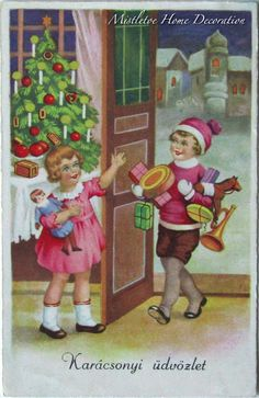 Vintage Hungarian Christmas postcard from 1939 with children, gifts and Christmas tree