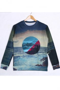 Blue Cool Ladies 3D Seascape #Printed Long Sleeves Sweatshirt.#Cheap #Sweatshirts #2014,Sweatshirts For #Womens,Sexy Sweatshirts,Cute Sweatshirts For #Girls,Sweatshirts #Outfits pinkqueen.com