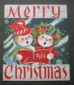 Vintage Christmas Greeting Card Mr & Mrs.Snowman Caroling Christmas Snowmen