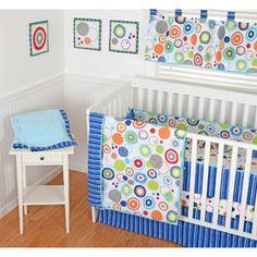 Sumersault Simple Circles Navy 9-Piece Nursery in a Bag Crib Bedding Set with BONUS Bumper