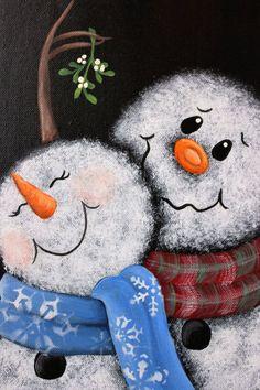 Pintura de muñeco de nieve de muérdago pintado a mano