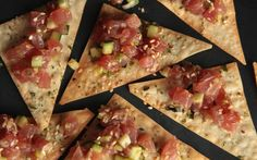 Asian-style tuna tartare recipe with soy sauce, fresh ginger, and sesame seeds.