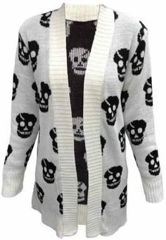 Amazon.com: New Womens Plus Size Skull Knit Boy Friend Cardigans Winter Knitted Jumpers: Clothing  - COLOR: BEIGE OR WHITE | SIZE 16 -
