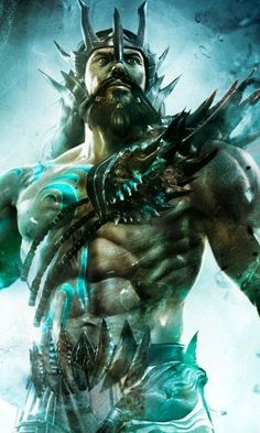 """Poseidon is one of the twelve Olympian deities of the pantheon in Greek mythology. His main domain is the ocean, and he is called the """"God of the Sea"""" Greek Gods And Goddesses, Greek And Roman Mythology, Mythological Creatures, Mythical Creatures, Roman Gods, Mermaids And Mermen, Merfolk, God Of War, Fantasy Characters"""